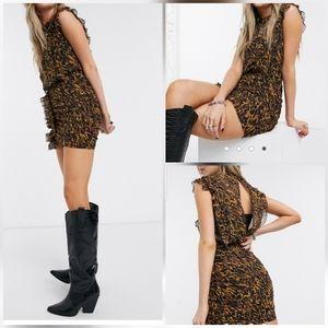 All Saints Hali Ambient Leopard Print Riffle Dress